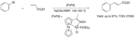 Acetylferrocenyloxime palladacycle-catalyzed Heck reactions