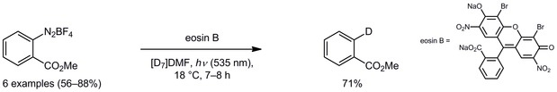 Visible light driven hydro-/deuterodefunctionalization of anilines