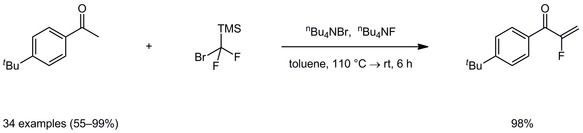 Catalytic domino reaction of ketones/aldehydes with Me3SiCF2Br for the synthesis of α-fluoroenones/α-fluoroenals