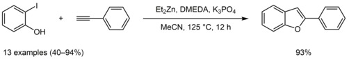 Synthesis of substituted benzofurans and indoles by Zn-catalyzed tandem Sonogashira-cyclization strategy