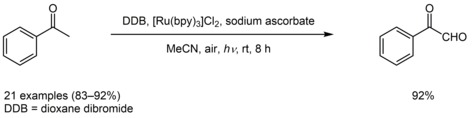 Visible-light assisted one-pot preparation of aryl glyoxals from acetoarylones via in-situ arylacyl bromides formation: selenium-free approach to acetoarylones oxidation