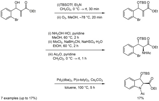 Employing small polyfunctionalized molecules for a diastereoselective synthesis of highly substituted indolines