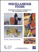 Miscellaneous Foods: Supplement to The Composition of Foods